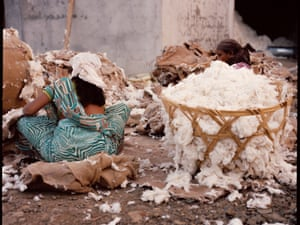 Workers sorting through the cotton at the ginning mill, India