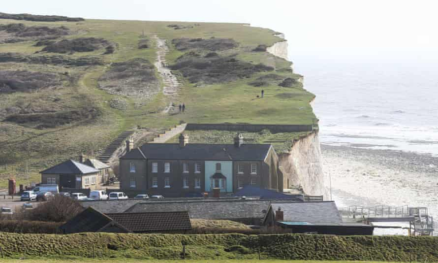 The cliffs and properties at Birling Gap near Eastbourne in Sussex, new cracks have appeared in the area because of recent erosion of the cliffs during the bad winter weather.