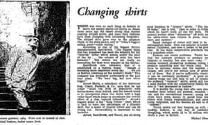Guardian article on fashion in men's shirts, 1964