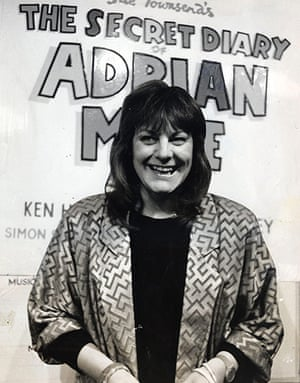 Sue Townsend: Sue Townsend stands in front of a poster of her book The Secret Diary of Ad