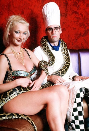 Sue Townsend: Justine the stripper with her snake Max and Adrian Mole (Stephen Mangan) in