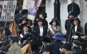 Actors Anne-Marie Duff, Carey Mulligan, Helena Bonham Carter and Romola Garai take part in filming of the movie Suffragette at Parliament in London. This is the first time filming for a movie has been allowed in The Houses of Parliament.