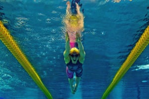 This picture taken with an underwater camera shows Lara Grangeon competing in the women's 200m butterfly series during the French Swimming championships in Chartres.