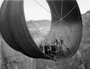The construction of the Hoover Dam in the 1930's.