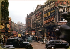 Colour photograph of Piccadilly Circus, 1949.