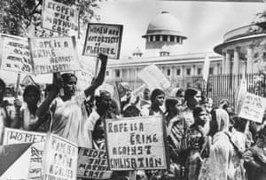 Members of the 'National Federation of Indian Women' demonstrating outside the Supreme Court, New Delhi as they demand the re-opening of the 'Mathura rape case'.
