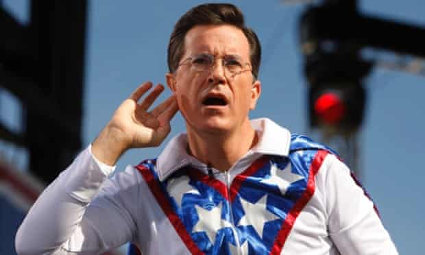 The ear of America: Stephen Colbert at the rally to restore sanity and/or fear.