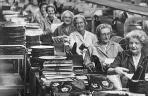 1965: Workers on a production line in the EMI factory at Hayes, Middlesex, where the Beatles' new album 'Rubber Soul' is in the final stages of production.