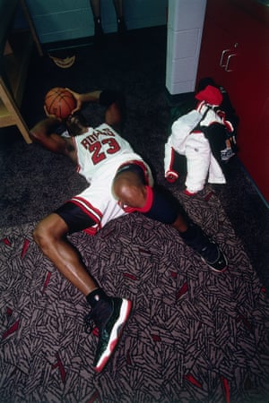 Michael Jordan after winning the 1996 NBA Championship with the Chicago Bulls.