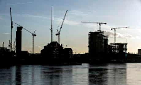 Construction cranes on the London skyline