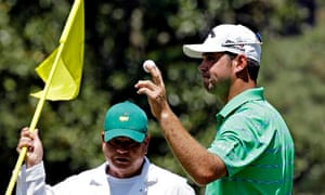 Gary Woodland of the United States after a birdie on the 10th hole during the Masters third round