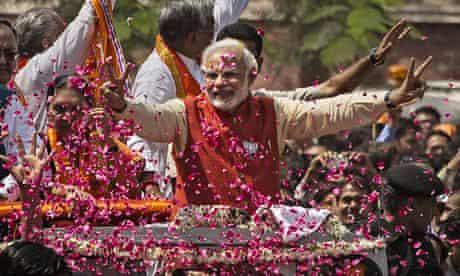 BJP leader Narendra Modi campaigning in April 2014