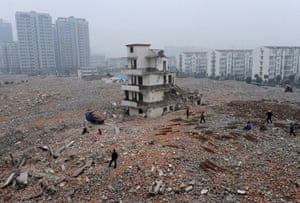 February 2010: A partially-demolished nail house on a construction site in Hefei, Anhui province.