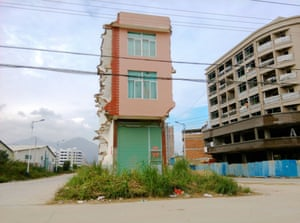 A nail house at a crossroads in Pinghe in China's south-eastern Fujian province
