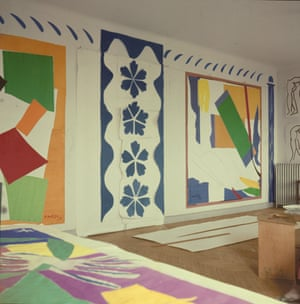 Large Composition with Masks, Memory of Oceania and The Snail, pictured in Henri Matisse's studio