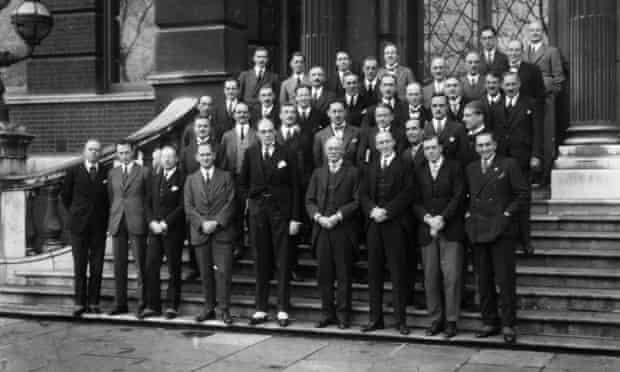 Reith with BBC staff including Joseph Gainsford and consulting engineer Peter Eckersley outside No 2 Savoy Hill about 1924.