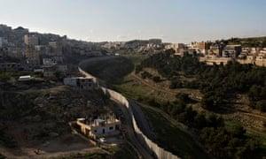 The Israeli-built West Bank separation barrier seen from Shuafat, East Jerusalem.