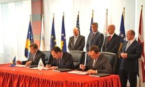 Kosovo road signing