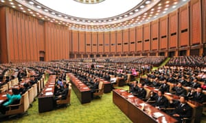Delegates attend the first session of the 13th Supreme People's Assembly. Photo released by North Korea's state news agency.