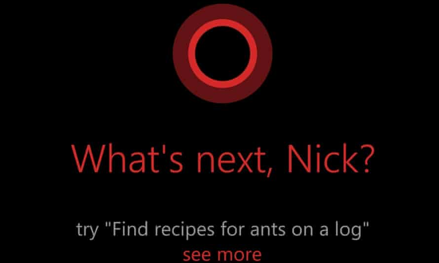 A command prompt from Cortana, Windows phone software's virtual assistant. With Cortana, Windows catches up with Apple s iOS and Google s Android in a major way.