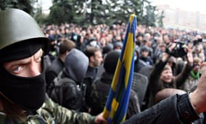 A pro-Russia rally in Horlivka, where the police HQ was seized. Occupiers claimed police joined them