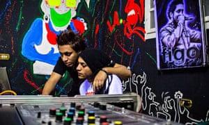 DJ Figo and DJ Sadat in the studio
