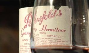 A bottle of Penfolds Grange wine