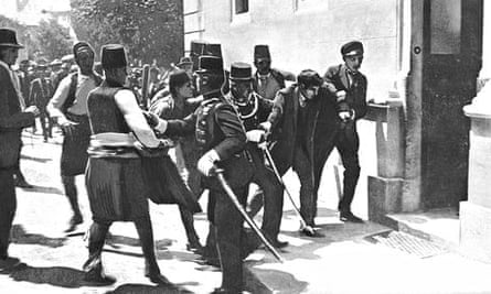 The arrest of Princip, assassin of the Archduke Franz Ferdinand and his consort.