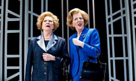 Stella Gonet and Fenella Woolgar as Margaret Thatcher in Handbagged