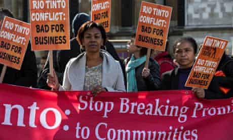 IndustriAll global union protesters llobby Rio Tinto Zinc's AGM in London