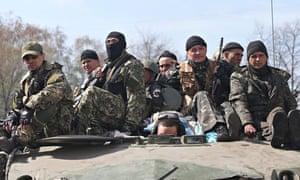 Pro-Russian militia men in Slavyansk.
