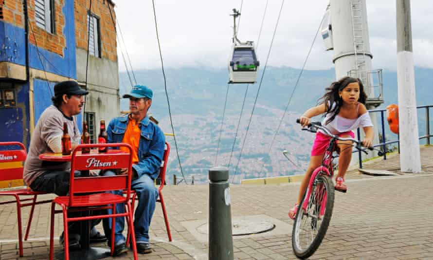 The installation of a cable car system has improved life for residents of Comuna 13.