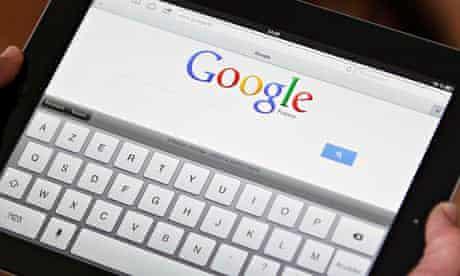 An iPad with Google on screen