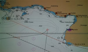 Navigational chart showing the co-ordinates of the Ocean Protector
