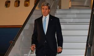 US secretary of state John Kerry arrives in Geneva.