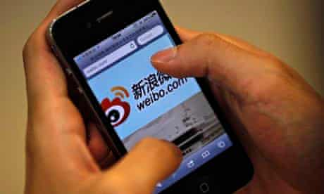 A Sina Weibo user accesses site on iPhone