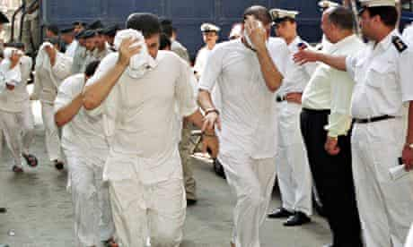2001 file photo of some of the 52 men arrested at a gay nightclub in Cairo