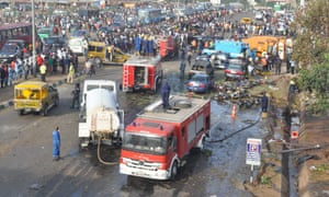 The aftermath of bomb blast at bus station near Abuja on 14 April 2014.