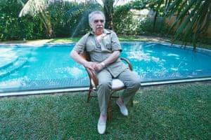 Gabriel García Márquez poses by his house in Cartagena, Colombia, 1982