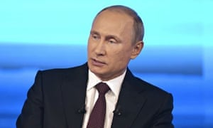 Vladimir Putin gives his annual televised question-and-answer session with the nation in Moscow