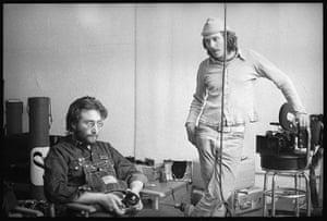 Danny Lyon: Danny Seymour with his Arriflex and John Lennon