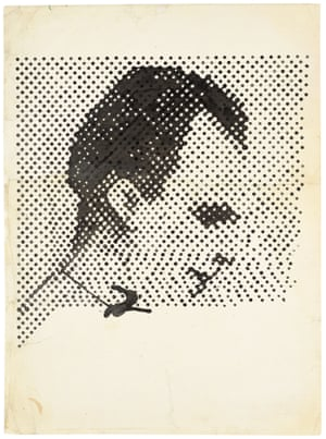 Raster Drawing (Portrait of Lee Harvey Oswald) (Rasterzeichnung (Porträt Lee Harvey Oswald)) 1963 Poster paint and pencil on paper