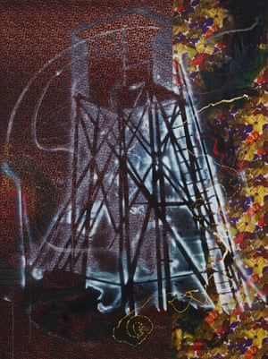 Watchtower (Hochsitz)  1984. Synthetic polymer paints and dry pigment on patterned fabric