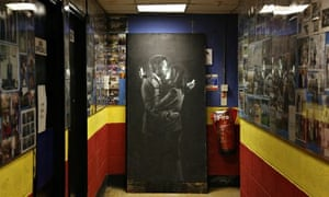 Banksy's Mobile Lovers on display inside Broad Plain & Riverside youth club