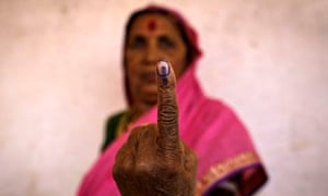 Indian elections: voters united by anti-fraud ink mark
