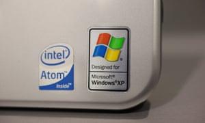 Windows XP logo on a Hewlett Packard Laptop