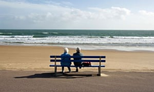 An elderly couple looking out to sea, Bournemouth, Dorset,  UK. Image shot 2006. Exact date unknown.