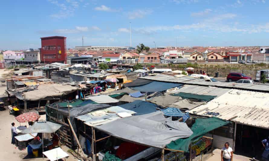 An 'active box' rises above the market Cape Town's Khayelitsha township.