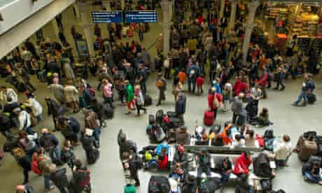 Delayed Eurostar passengers at St Pancras station in London on Thursday