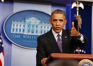 U.S. President Barack Obama speaks to the media in the Brady Press Briefing Room at the White House in Washington April 17, 2014.